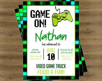 video game invitation video game party by stephslittlestudio - Video Game Party Invitations