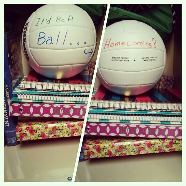 How My Daughter A Volleyball Player Was Asked To Homecoming He Put This Volleyball In Her Locker Asking To Homecoming Volleyball Players Volleyball