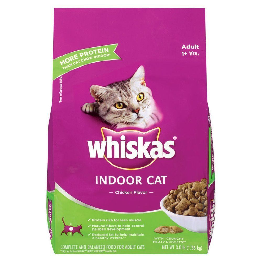 Whiskas Indoor Cat Chicken Flavor Dry Cat Food 3 Pounds Check