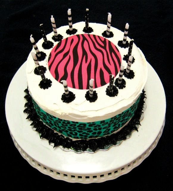 Funky animal print cake for 15 year old girls birthday