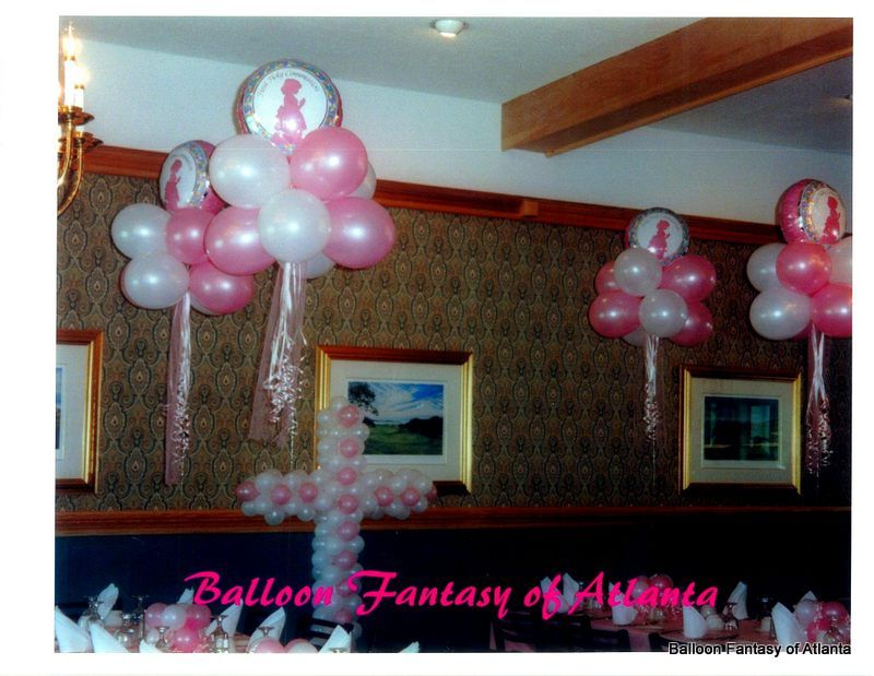 Balloon decorations for first holy communion fantasy for Balloon cloud decoration