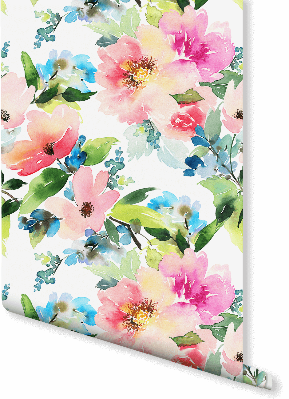 Summer Floral Watercolor Wallpaper Vintage Flowers Wallpaper