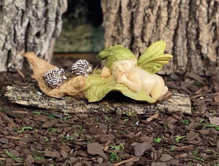 Fairy Baby Sleeping On A Leaf With Hedgehogs Woodland Fairy Etsy In 2020 Fairy Garden Animals Fairy Garden Supplies Christmas Fairy Garden