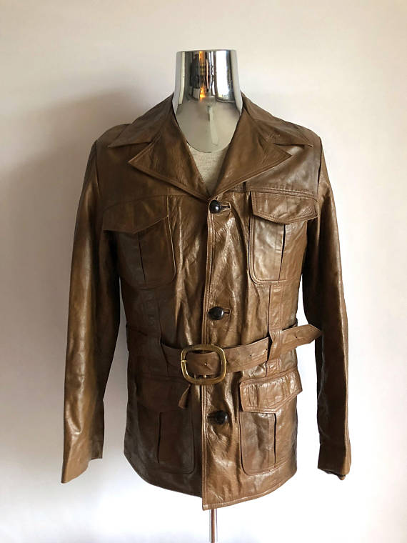 0b1203f5 Vintage Men's 70's Belted, Leather Jacket, Brown, Button Down, Coat (M)