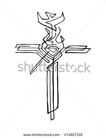 Hand Drawn Vector Illustration Or Drawing Of A Religious Cross With