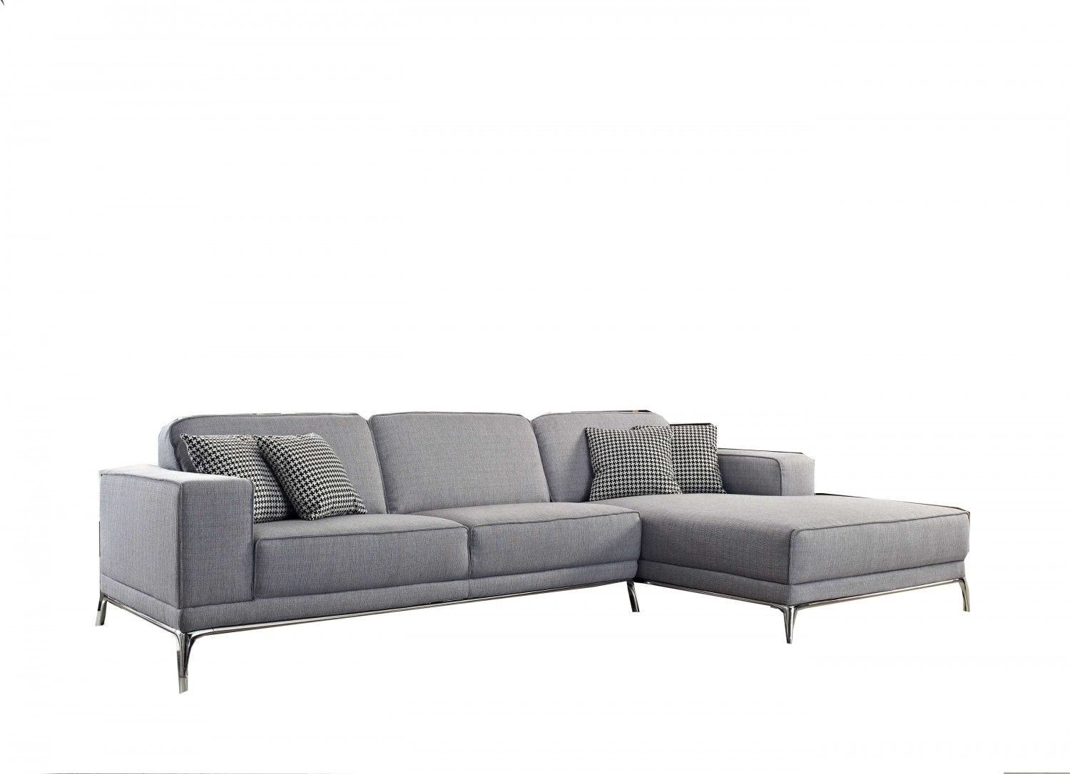 Agata Sectional Fabric Sofa In Light Grey Color By Creative