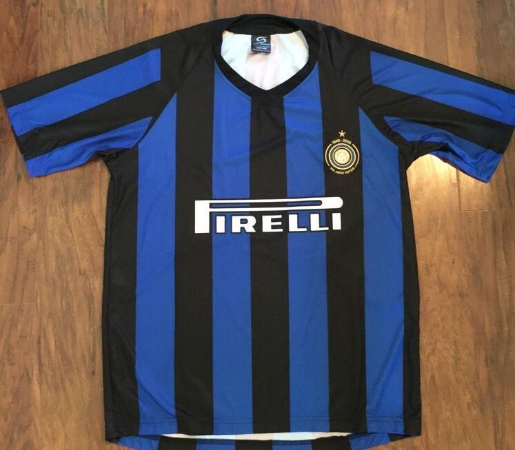 new arrival 164b9 33db8 Pirelli Vieri Soccer Jersey Shirt Blue Black Striped Italy ...