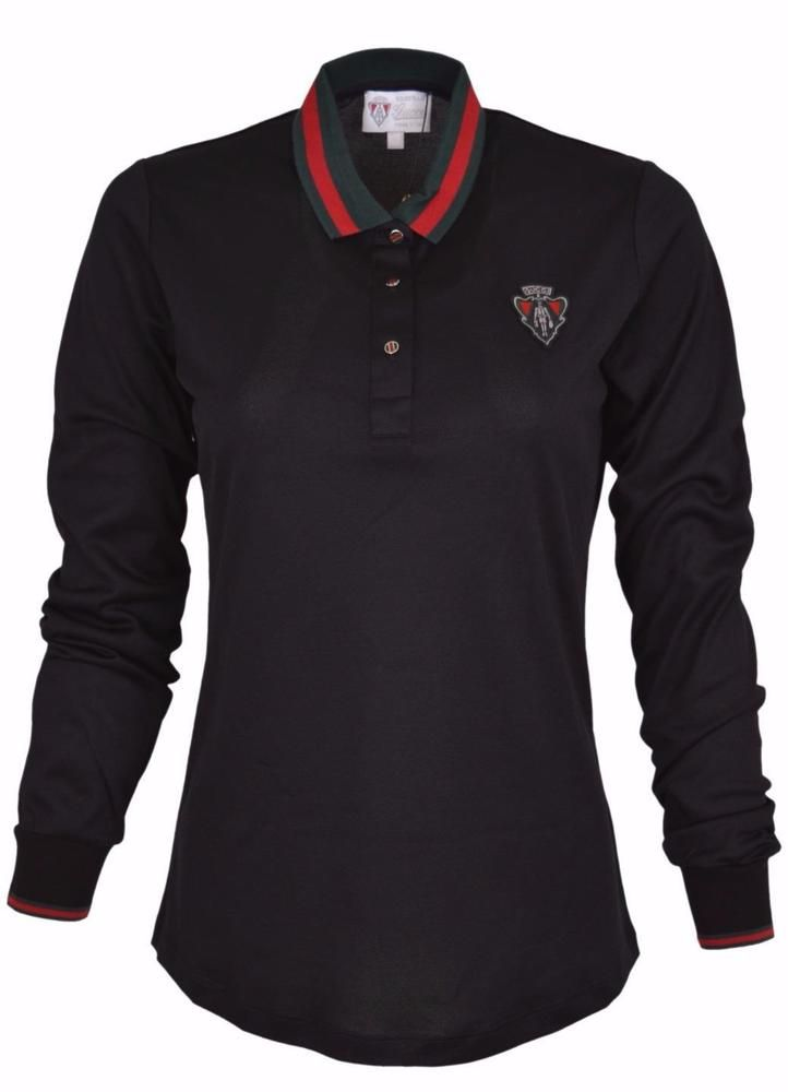 d75239b90cd821 New Gucci Women s Black Hysteria Crest Web Trim Long Sleeve Polo Shirt M   Gucci…
