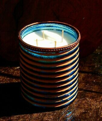1kg 4 Wicks MOROCCAN SANDALWOOD Scented Turquoise Blue & Bronze Glass ECO CANDLE (ebay link)
