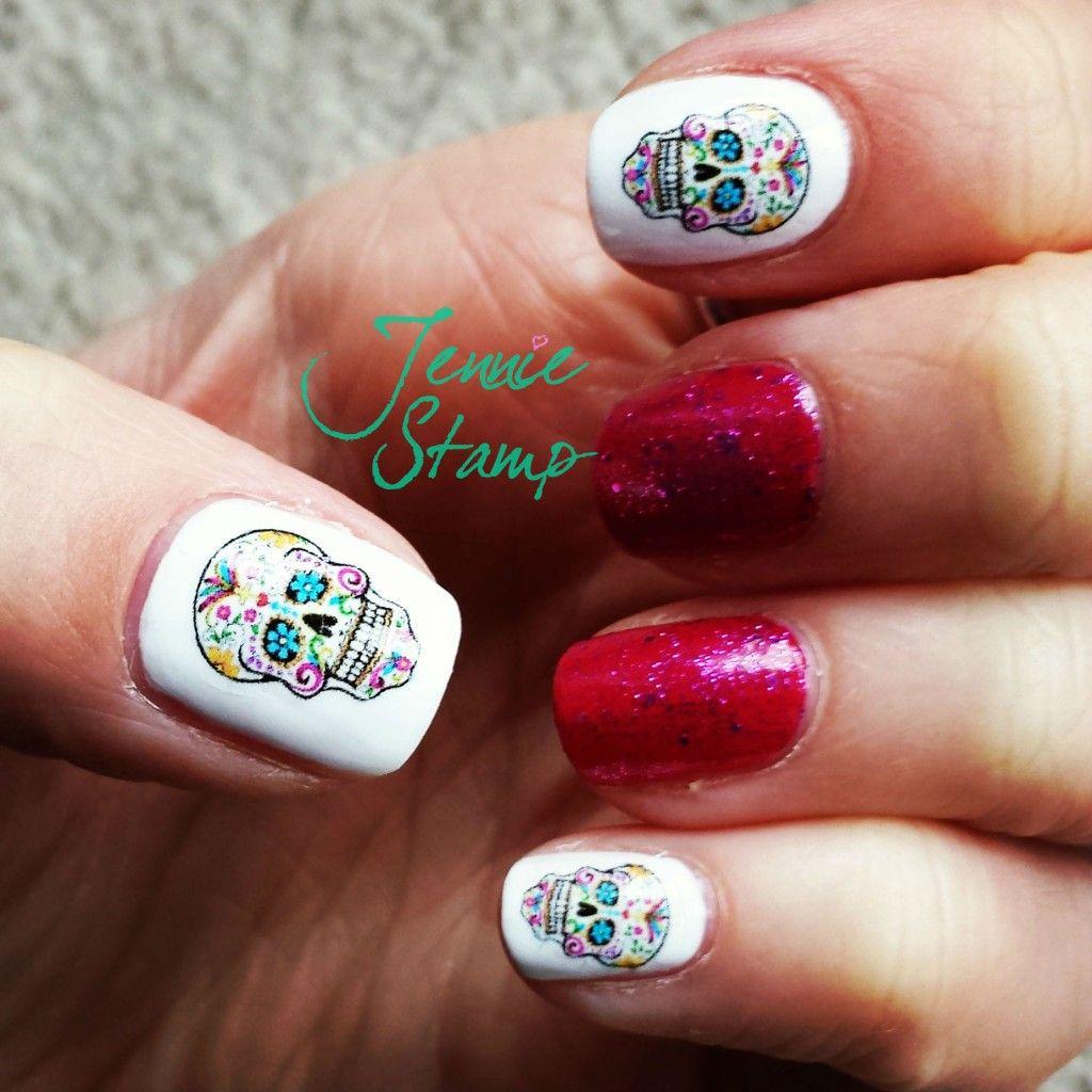 Sugar skull nails by jenniestamp.com