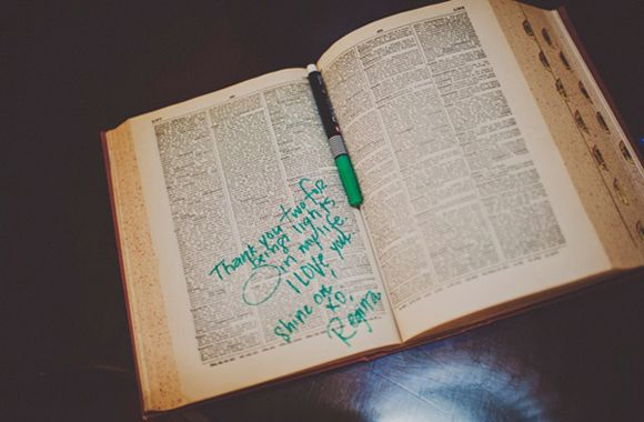 Use family bible for guest book.