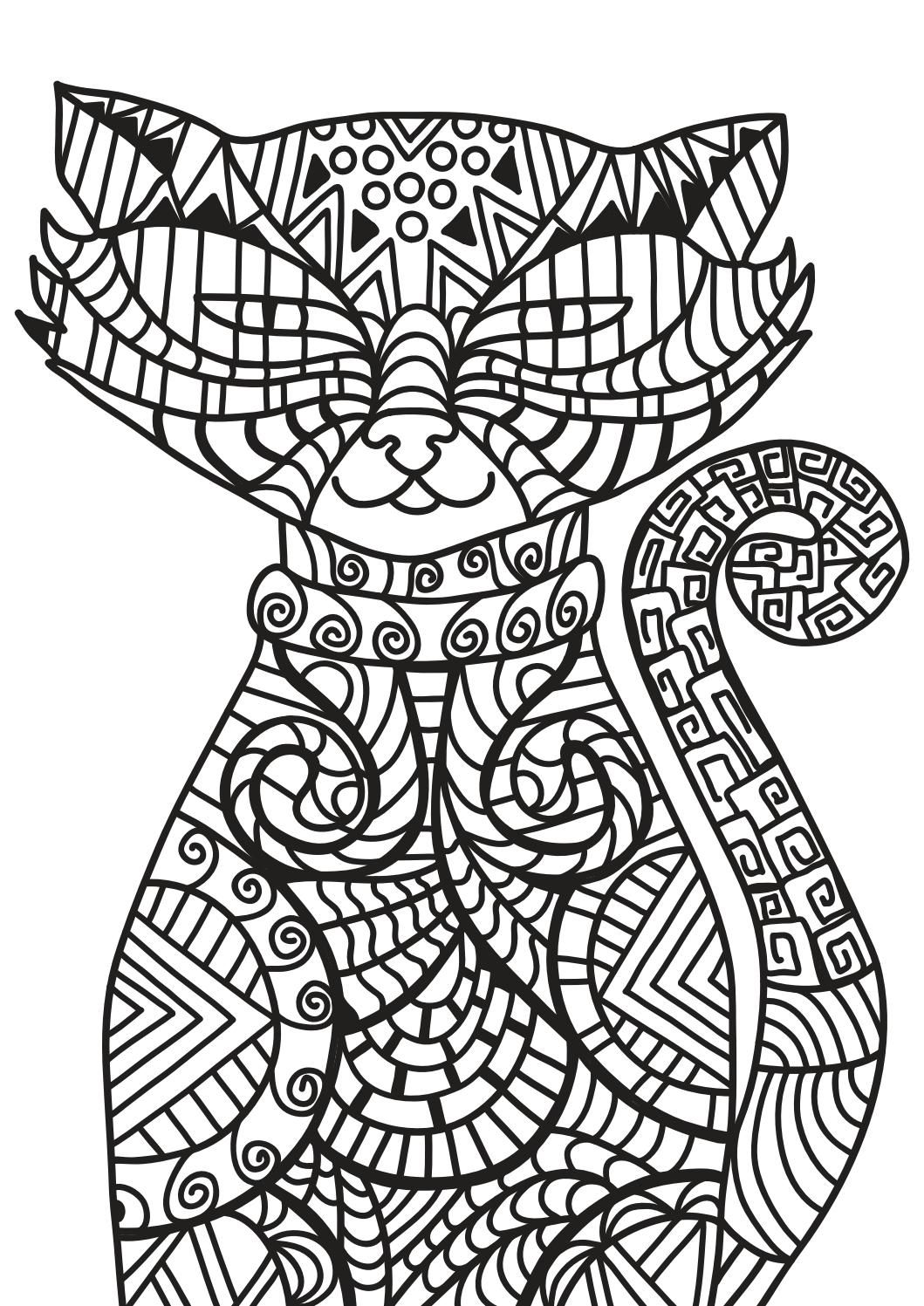 Cat Coloring Pages For Adults Printable Coloring Book Cat