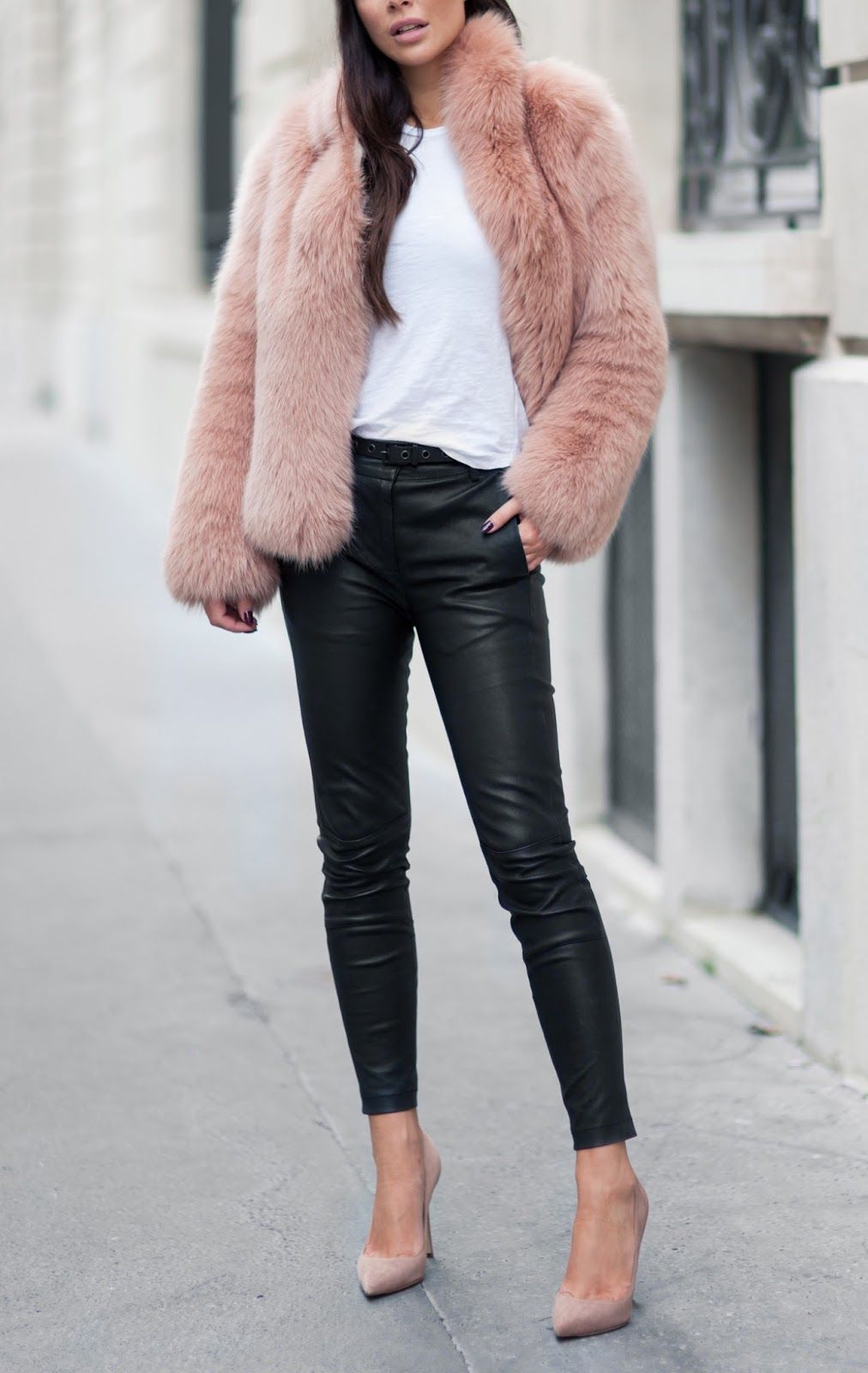 Blush faux fur coat, blush heels, black leather pants, white tee