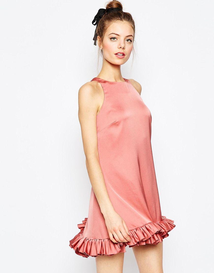 Image 1 of ASOS Mini Shift Dress With Ruffle Hem | Women\'s Basic ...
