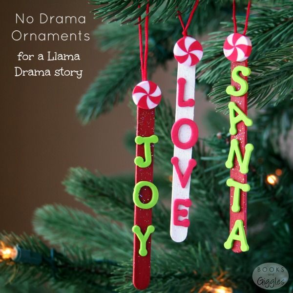 Popsicle Stick Ornaments for a Llama Drama Story Craft sticks - christmas decors