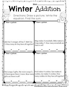 1st Grade December Math And Literacy Worksheets Planning Playtime First Grade Words December Math Word Problems