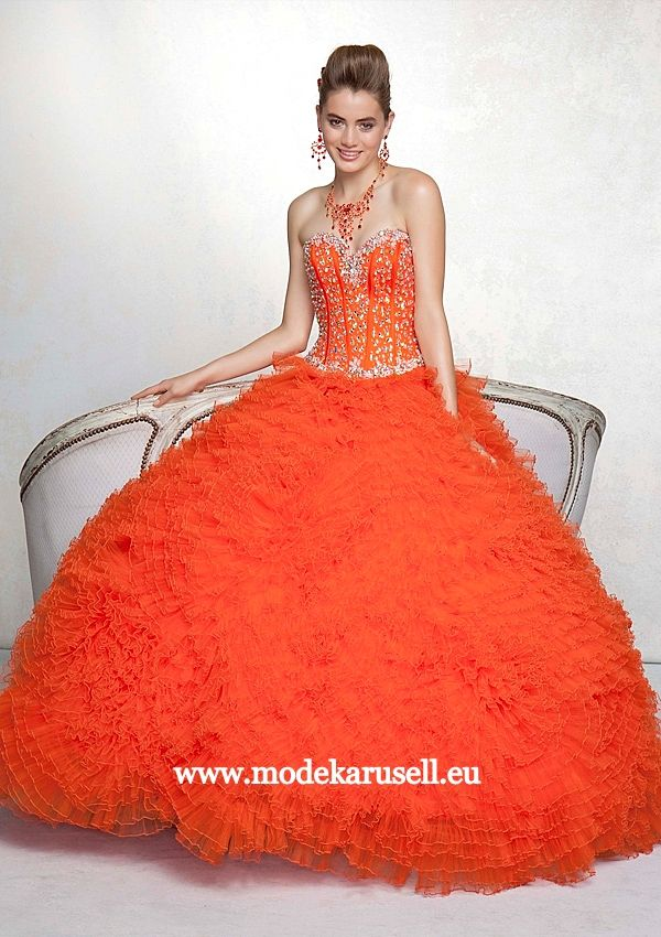 Abendkleid Ballkleid in Orange oder Blau www.modekarusell.eu | Prom ...