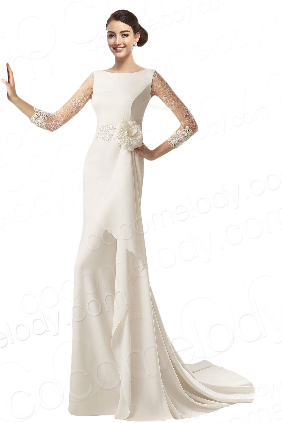 Long sleeve ivory wedding dress  ClassicSheathColumnBateauNaturalTrainSatinIvoryLongSleeve