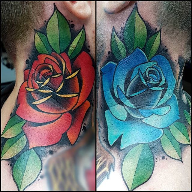 Websta Jamieleetattooart John S Neck Roses I Had Great Fun Doing These Wich Ones For You Red Or Blue Rose Tattoos Tattoos Tattoo Designs