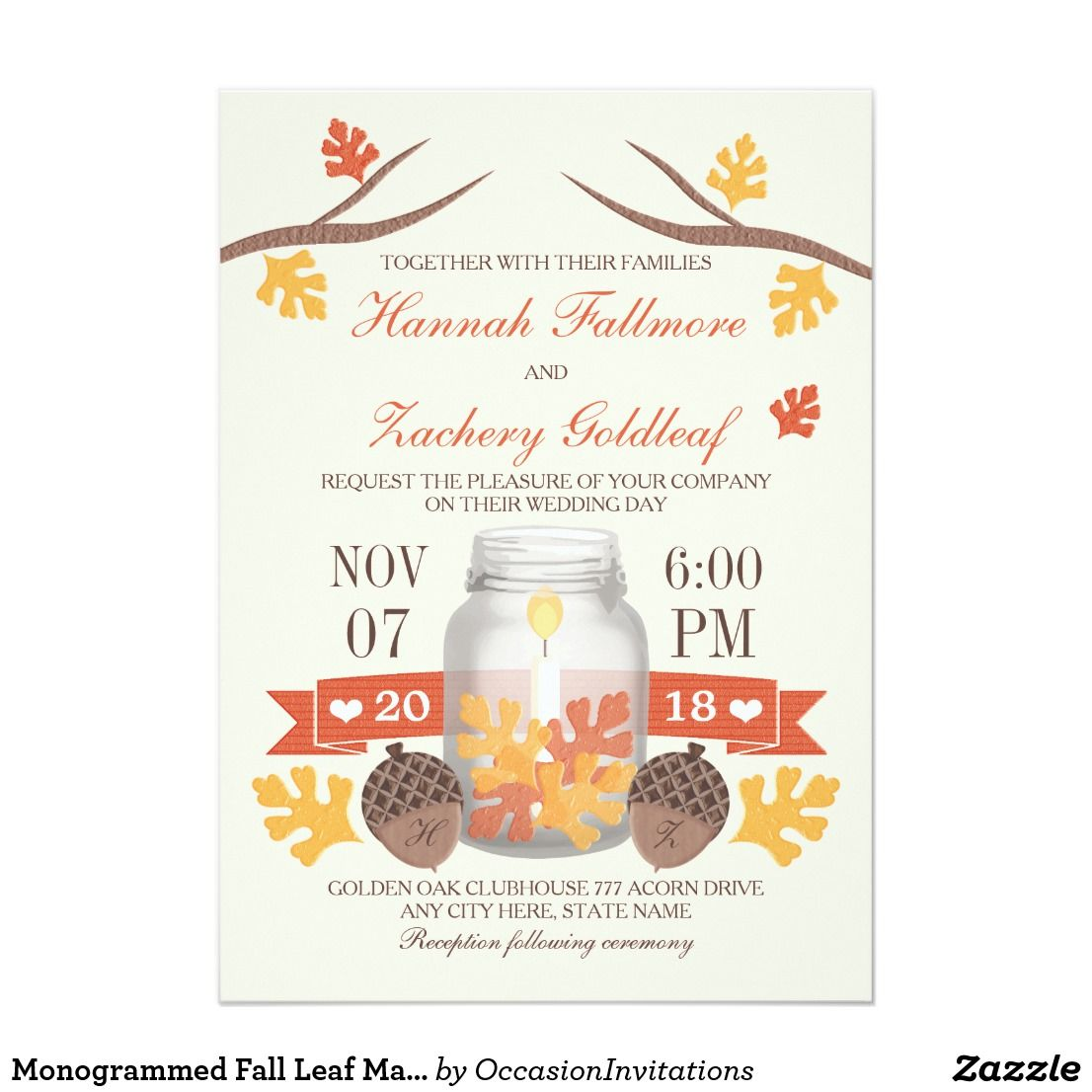 Monogrammed Fall Leaf Mason Jar Wedding Card A beautiful fall themed ...