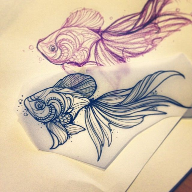 Goldfish Primordialpain Tattoo Pinteres
