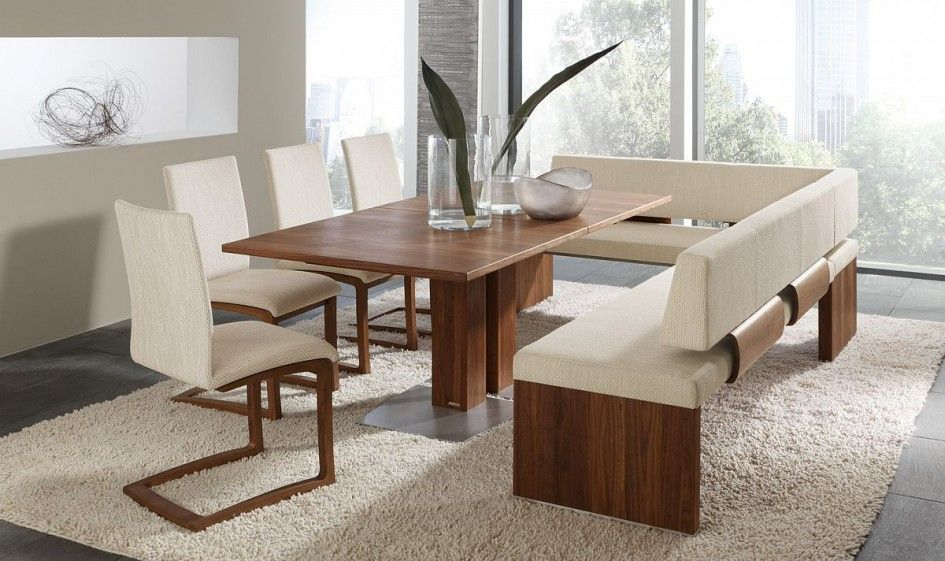 Modern Dining Room Set With Bench Rectangular Wooden Dining Table Off White Fabric Seat An Contemporary Dining Room Sets Apartment Dining Room Apartment Dining
