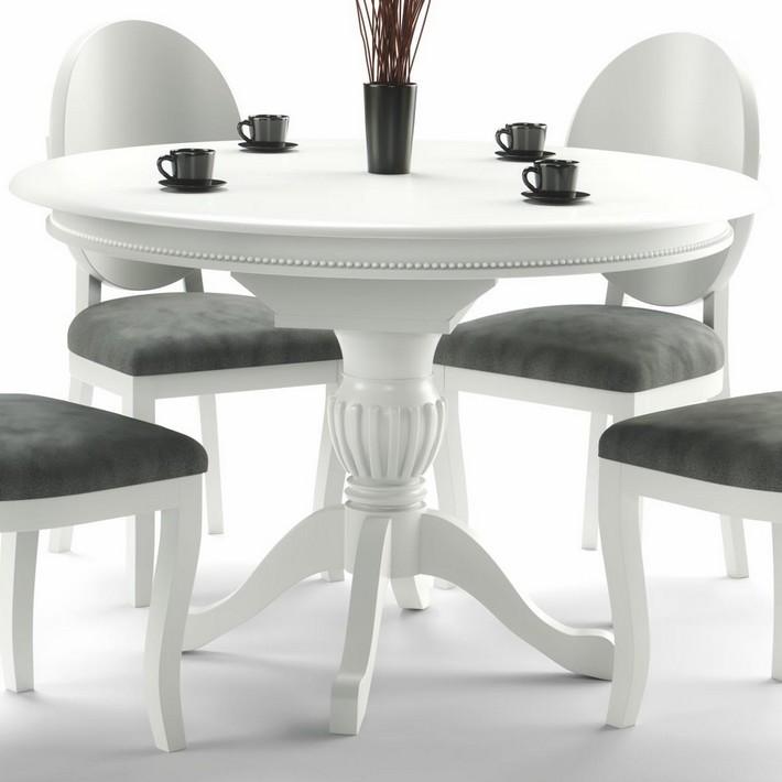 Table Ronde Baroque Blanche 120cm Avec Rallonge Collection Windsor Table Salle A Manger Table De Salle A Manger Blanche Table A Manger Ronde