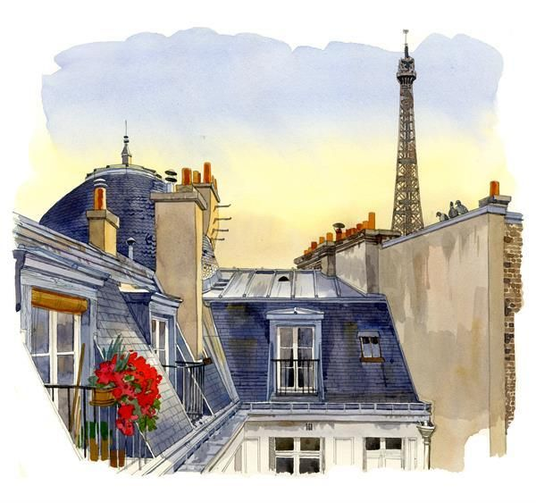 Fabrice Moireau Paris Watercolor Painting Paris Painting