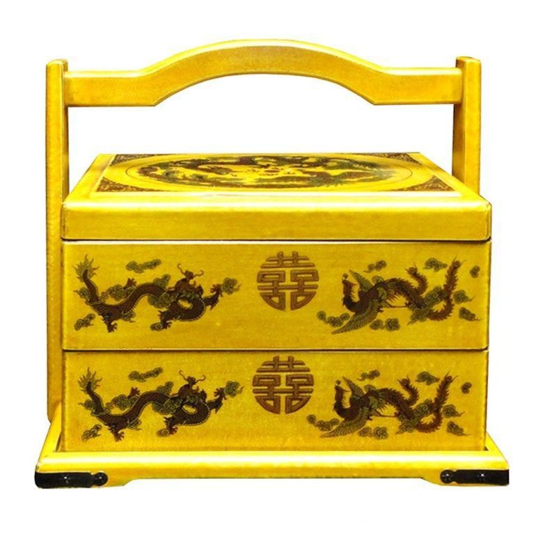 Yellow Wedding Box with Asian Motifs is part of Yellow Home Accessories Paint - This wedding basket was modified from the traditional Chinese wedding basket  It is made of cardboard paper and covered with artificial leather  The graphic is a phoenix and dragon with Chinese characters   Dimensions w12  x d9 x h11   Origin China  Material Paper, vinyl  Condition Reproduction, hand made, not perfect   USA domestic continental buyers of 48 states pay $32 shipping (buyers of Hawaii, Alaska, US Islands, and Canada pays the extra shipping cost)  Insurance and handling charges are already included in the shipping cost  In store pick up is highly welcomed if you are in San Francisco Bay Area  (No charged)