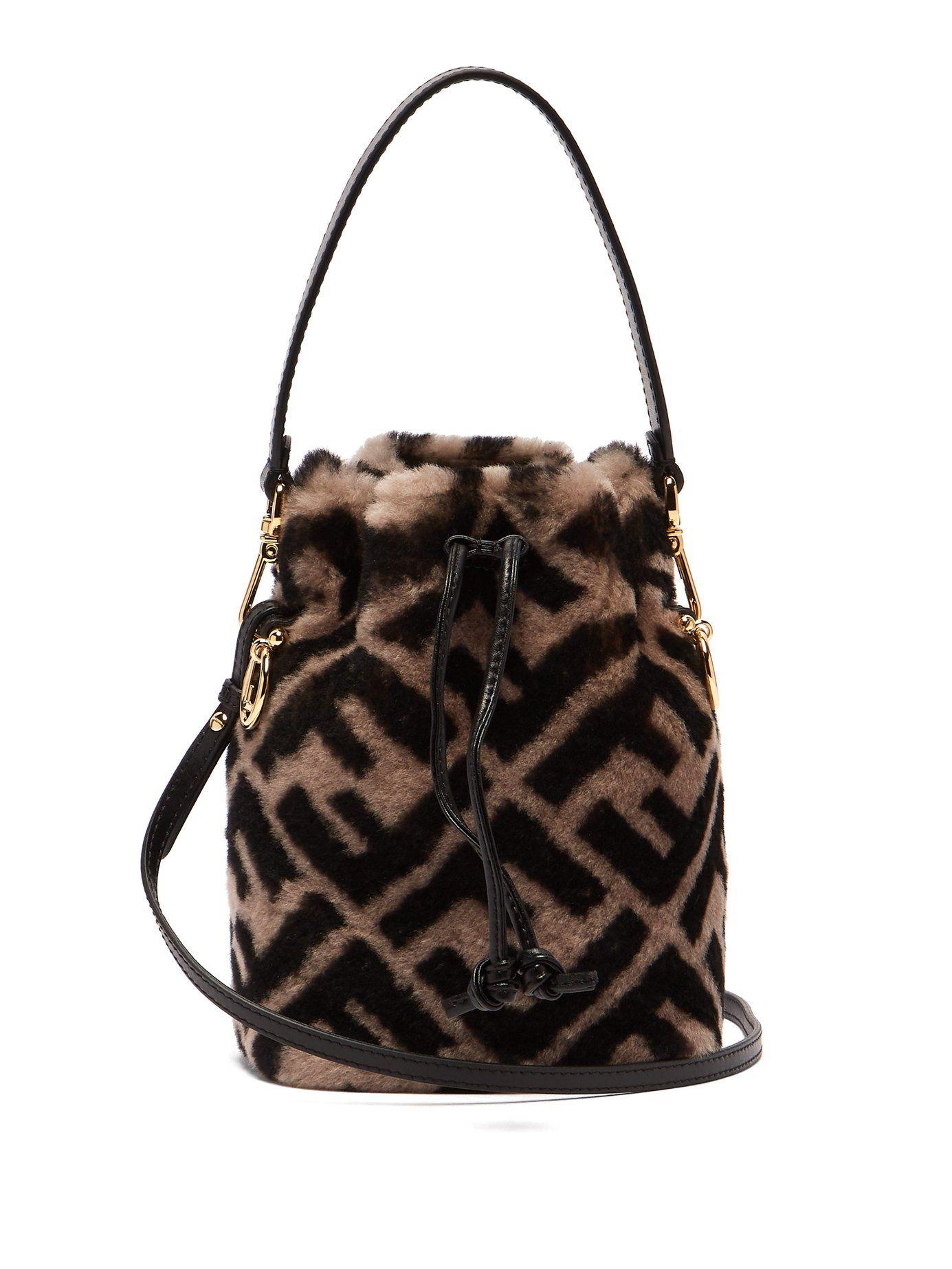 bdc9c54e6f86 Mon Tresor logo-print shearling bucket bag