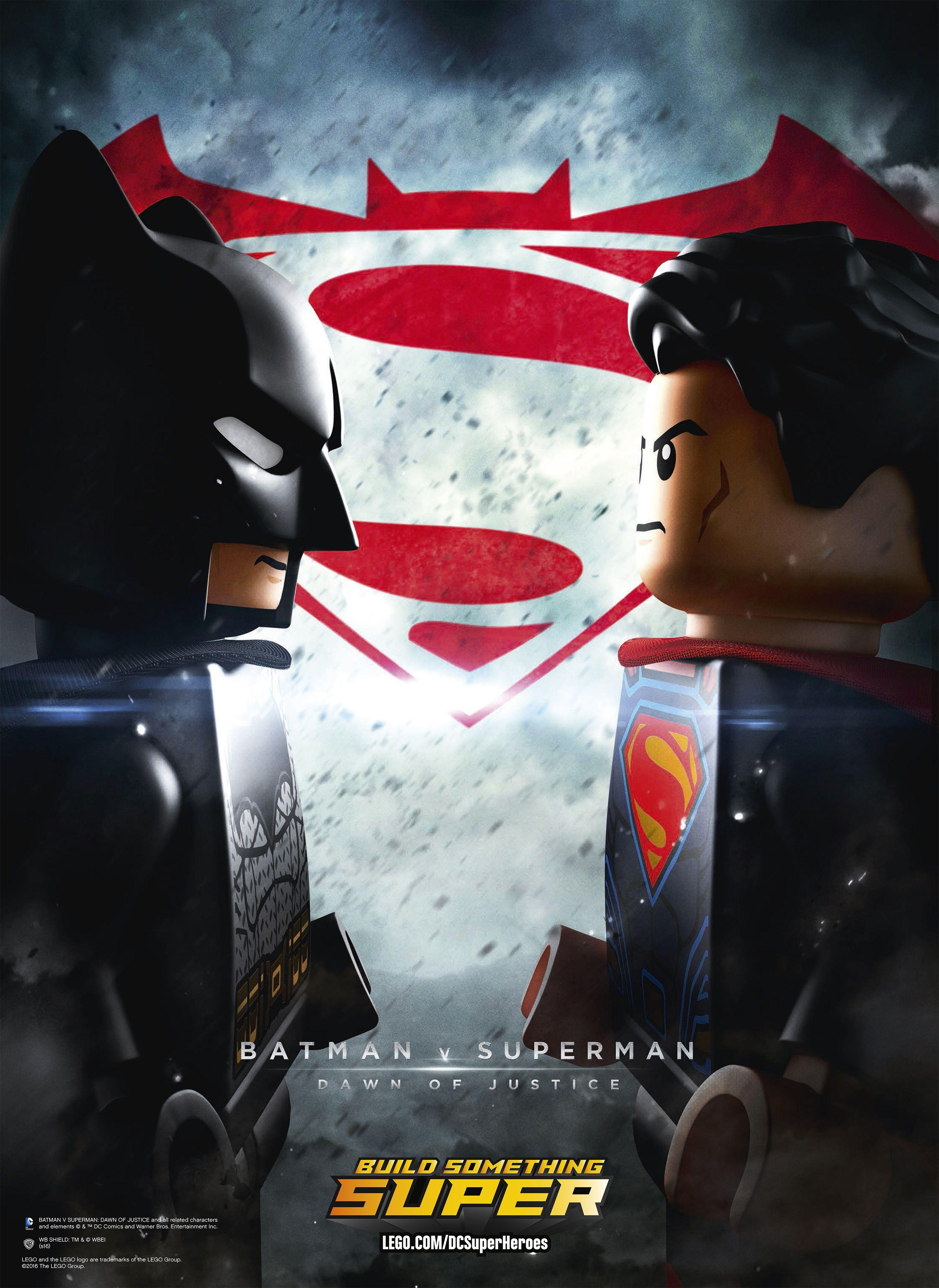 Batman V Superman Poster Gets A Lego Remix Lego Poster Batman Vs Superman Poster Batman V Superman Poster