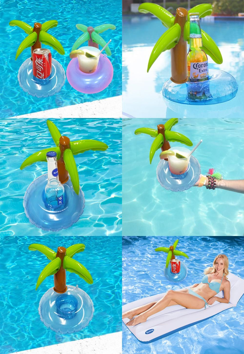 Visit To Buy 5 Pieces Set Mini Coconut Tree Drink Holder Inflatable Floats