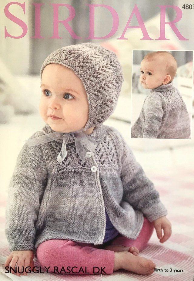 Baby Jacket & Bonnet Pattern 0-3 Years Knitting Pattern ...