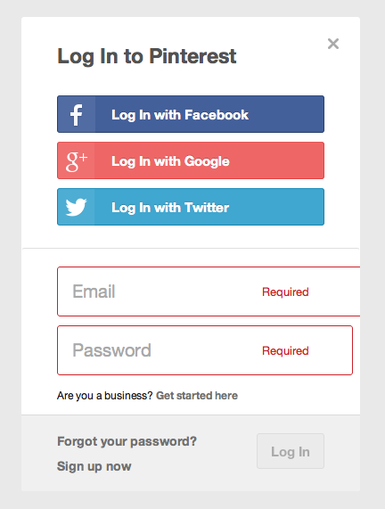 how to login to pinterest