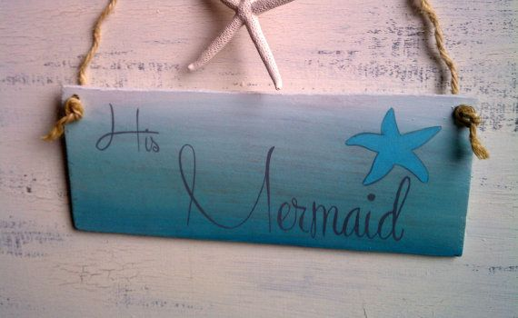 Captain & Mermaid Beach Wedding Signs Starfish by HickoryandLace