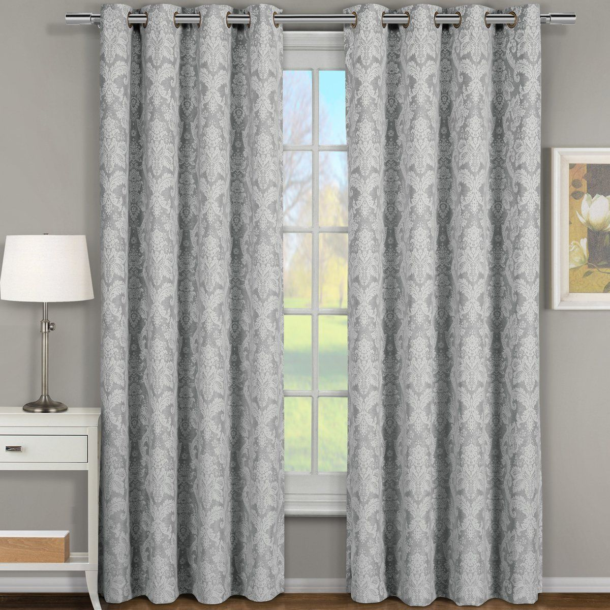 """Amazon.com: Pair of Two Window Panels, Elegant and Contemporary Jacquard Blair Grommet Top Draperies. Set of Two Grey 54"""" Width by 84"""" Length Panels (108"""" W by 84"""" L Pair): Home & Kitchen"""