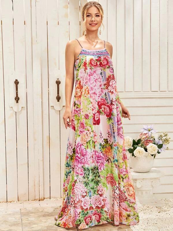 Vestido De Tirante Maxi Con Estampado Floral De Muslo Con Abertura Shein Espana In 2020 Womens Trendy Dresses Floral Print Maxi Printed Maxi