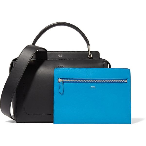 Fendi DotCom leather tote ($2,130) ❤ liked on Polyvore featuring bags, handbags, tote bags, black leather tote bag, zippered tote bag, zipper pouch, black leather purse and leather tote handbags