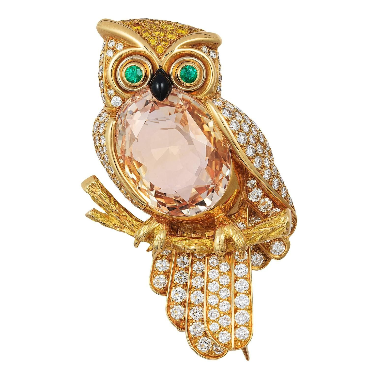 Cartier Orange Sapphire diamond gold Owl Pin | From a unique collection of vintage brooches at https://www.1stdibs.com/jewelry/brooches/brooches/