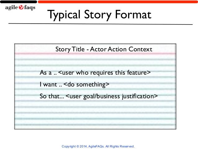Image result for user story format Work User story