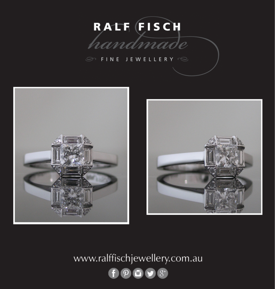 847c35a4dec748 18ct white gold handmade engagement ring with 0.50ct DSI1 GIA certified princess  cut centre diamond