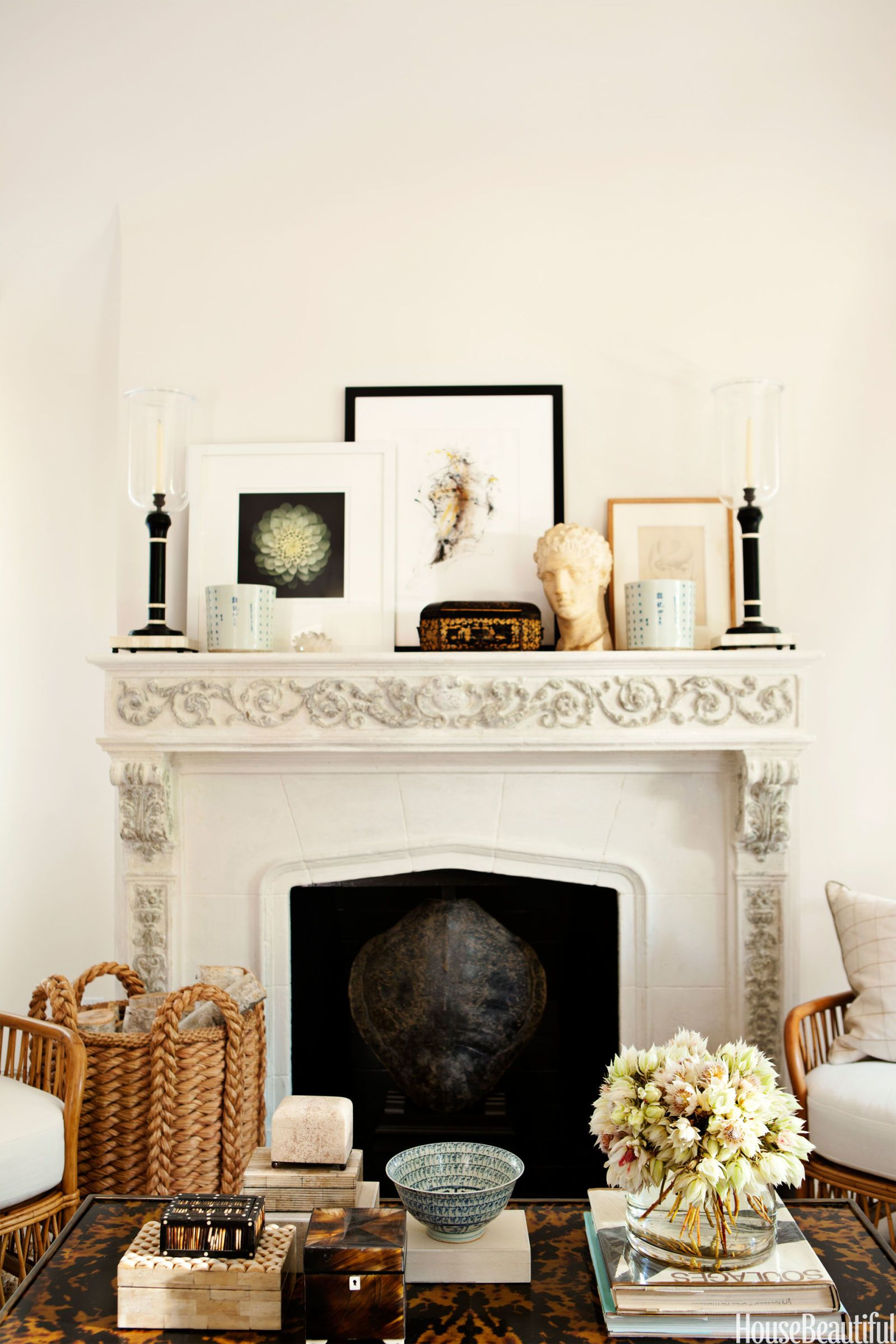 In The Living Room Of A West Hollywood House Mantel And Coffee Table Display Designer Mark D Sikes S Pions Bo Books Art From China