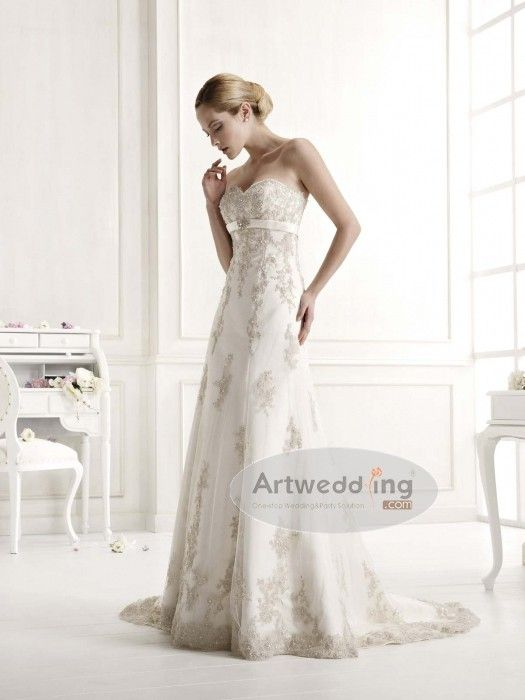 Strapless Tulle Appliqued Princess Wedding Dress
