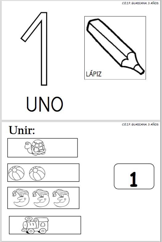 Fichas para trabajar el número y la cantidad del 1 al 3