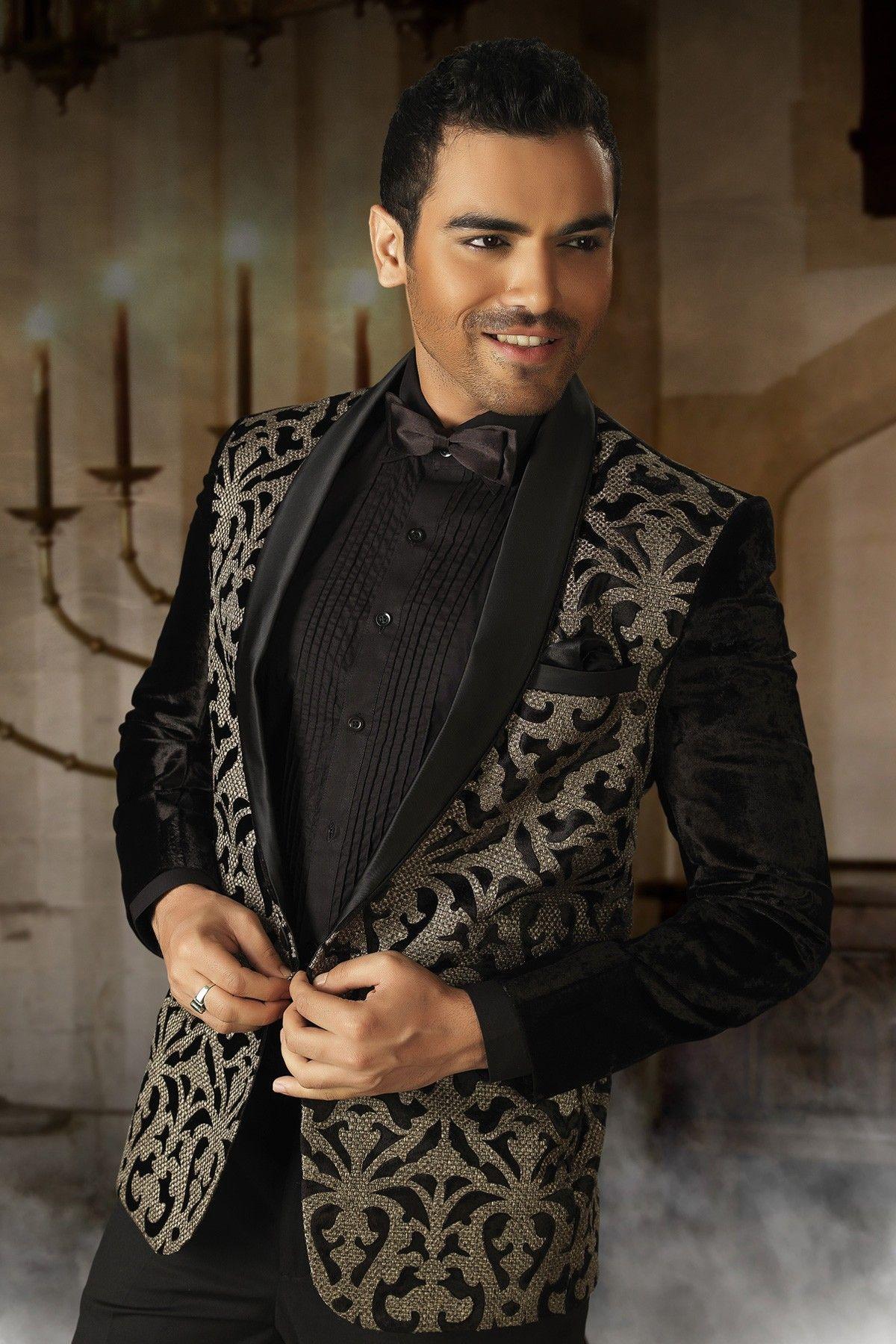 Black colour velvet Indian designer jodhpur Mens reception Suit ...
