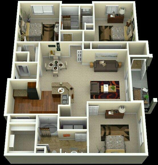 Departamento tres habitaciones plano pinterest for Modelos mini departamentos interiores