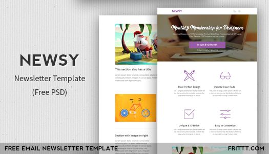Newsy Is A Free Newsletter Psd Template Which You Can Can