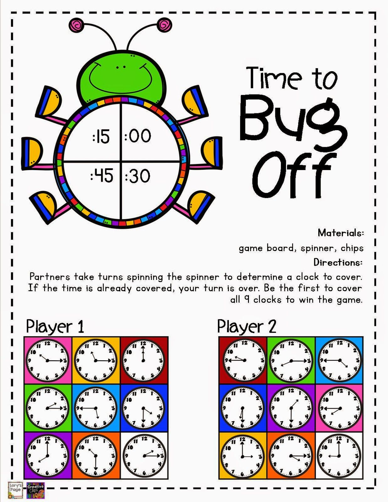 Telling Time Game Boards