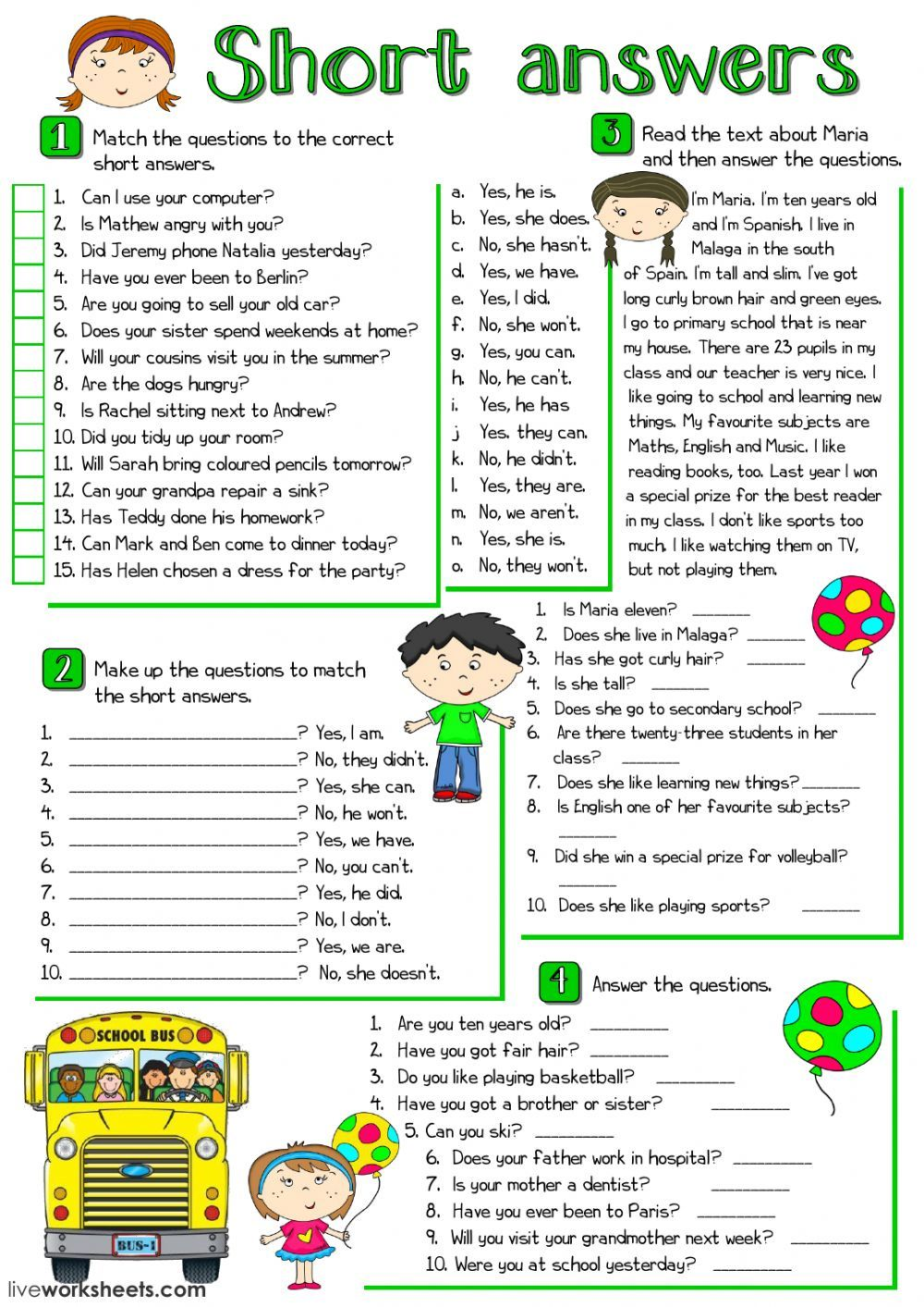 Short Answers Interactive And Downloadable Worksheet You Can Do The Exercises Online Or D Ejercicios De Ingles Comparativos En Ingles Ingles Basico Para Ninos [ 1413 x 1000 Pixel ]
