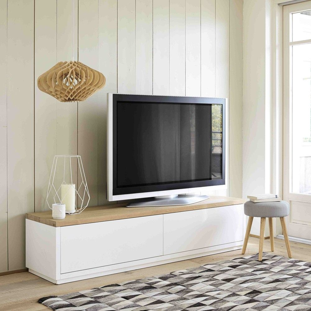 meuble tv en ch ne massif blanc l 180 cm austral maisons. Black Bedroom Furniture Sets. Home Design Ideas